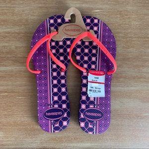 NWT Havaianas Purple Flip Flops Size 11 (41/42)